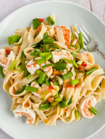 Shrimp Scallion & Tomato Fettuccine