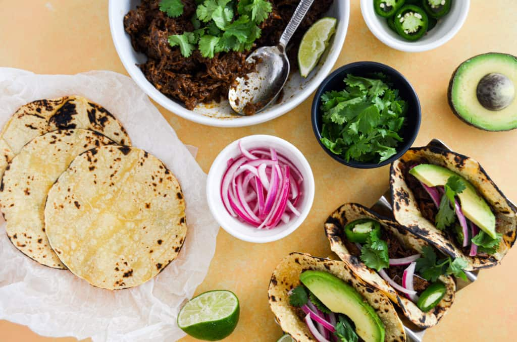slow-cooked beef barbacoa tacos