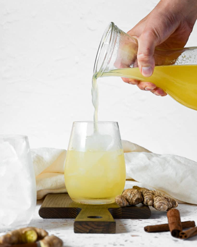 Simple Pineapple Ginger Immunity Juice Poured in Cup