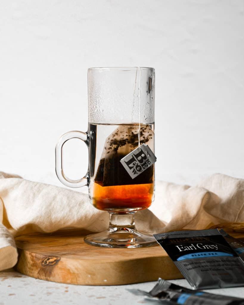 Dairy-Free London Fog Tea Latte with tea bag in