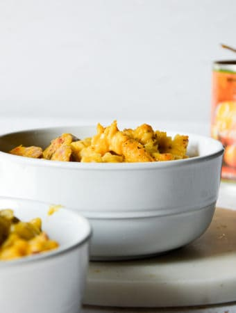 Gluten-Free Dairy-Free Pumpkin Mac & Cheese with Kielbasa