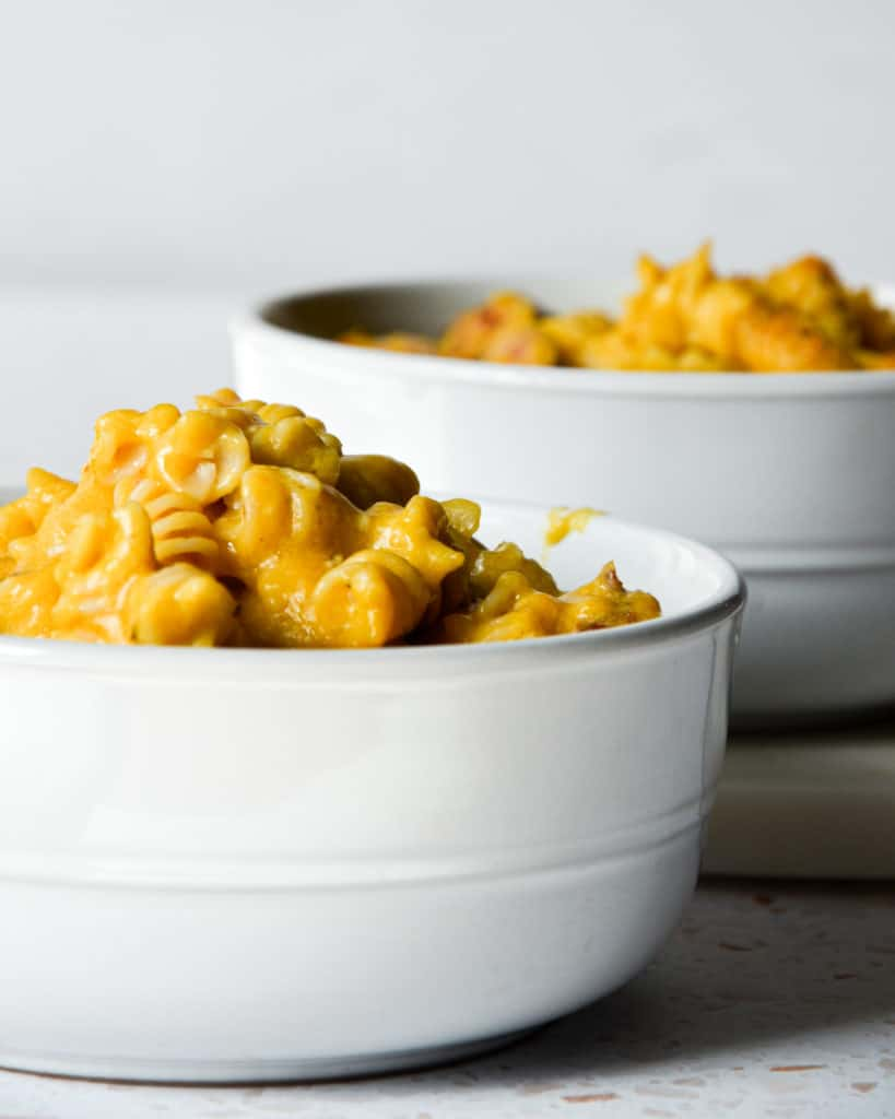 Dairy-Free GLuten-Free pumpkin mac and cheese with kielbasa Close-Up