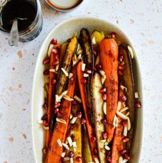 Easy Roasted Carrots with Balsamic-Pomegranate Glaze