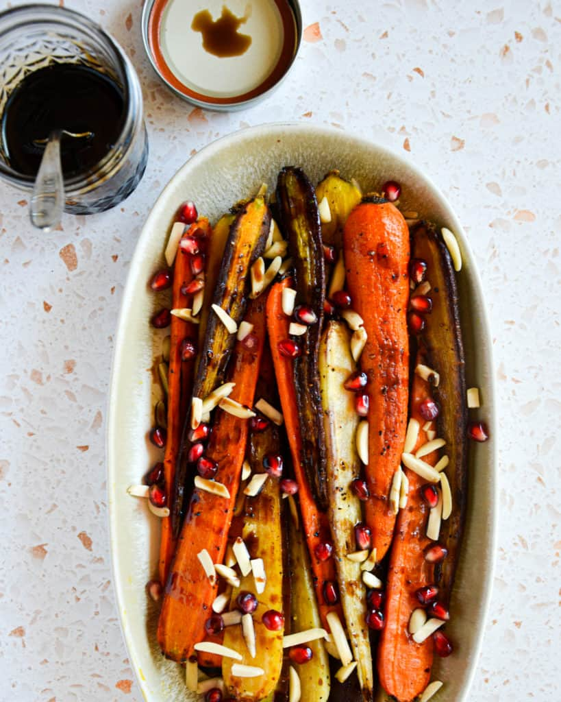 Easy Roasted Carrots with Balsamic-Pomegranate Glaze