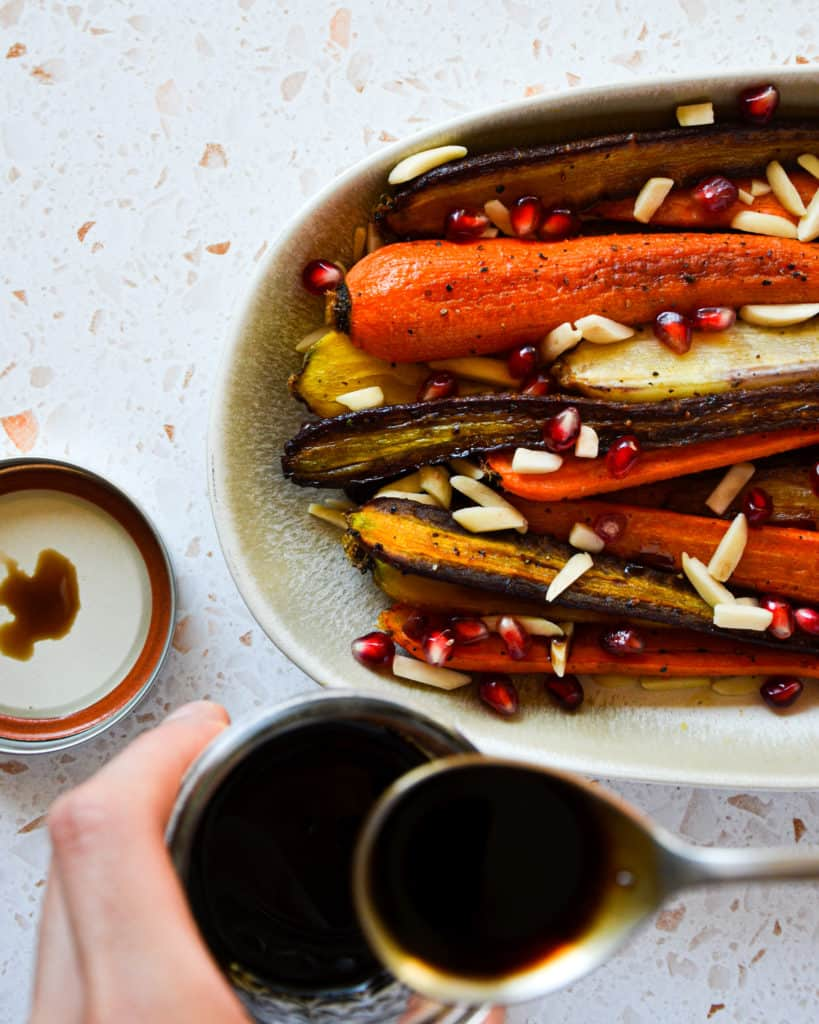 Easy Roasted Carrots with Balsamic-Pomegranate Glaze homemade