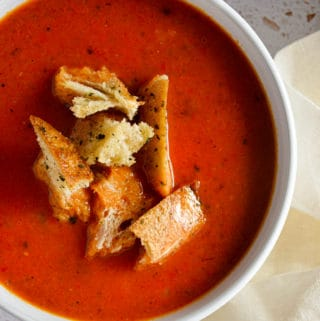 Roasted Red Pepper & Tomato Soup with Sausage
