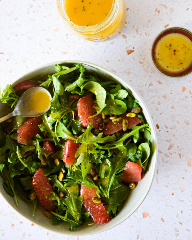 Winter Grapefruit & Arugula Salad with Grapefruit Dressing