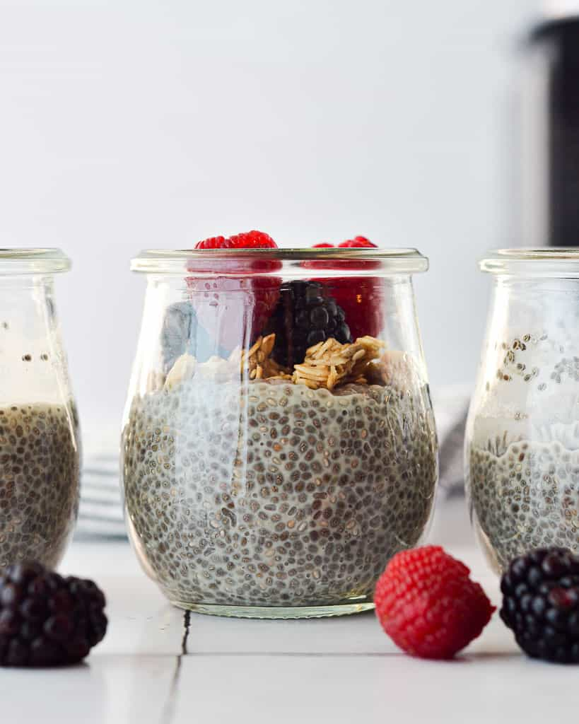 Basic 3 Ingredient Chia Pudding with berries