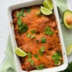 Gluten-Free Beef Chorizo, Kale & Sweet Potato Enchilada Casserole