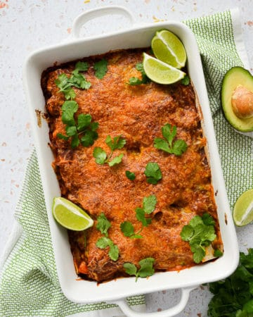 chorizo enchilada,gluten-free,dairy-free,enchiladas,enchilada casserole,healthy enchiladas,kale,sweet potato,chorizo,vegan enchilada casserole,beef enchilada casserole,healthy enchilada,gluten-free enchilada