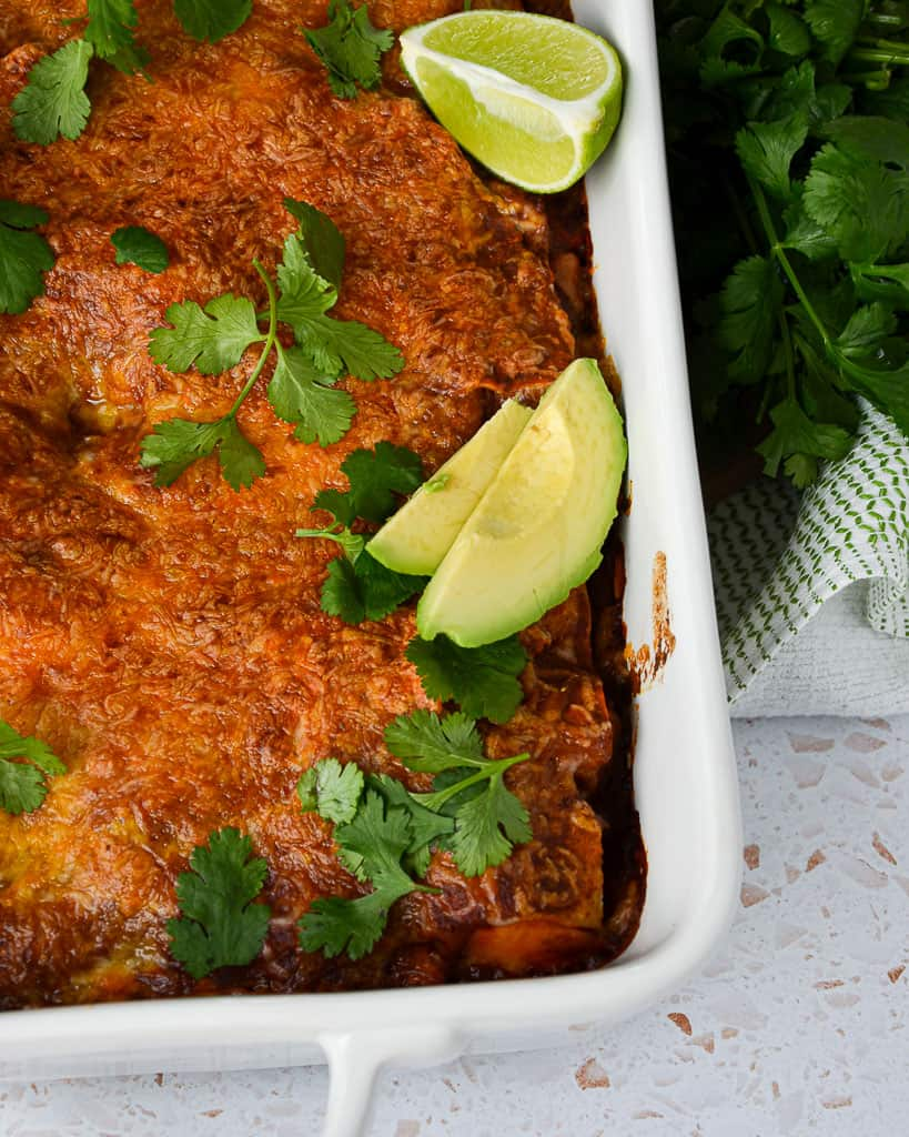 Gluten-Free Beef Chorizo, Kale & Sweet Potato Enchilada Casserole - close up