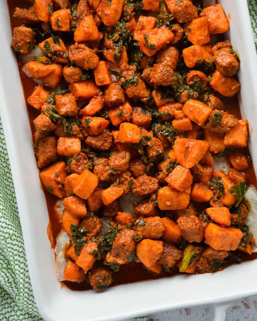 Gluten-Free Beef Chorizo, Kale & Sweet Potato Enchilada Casserole - filling