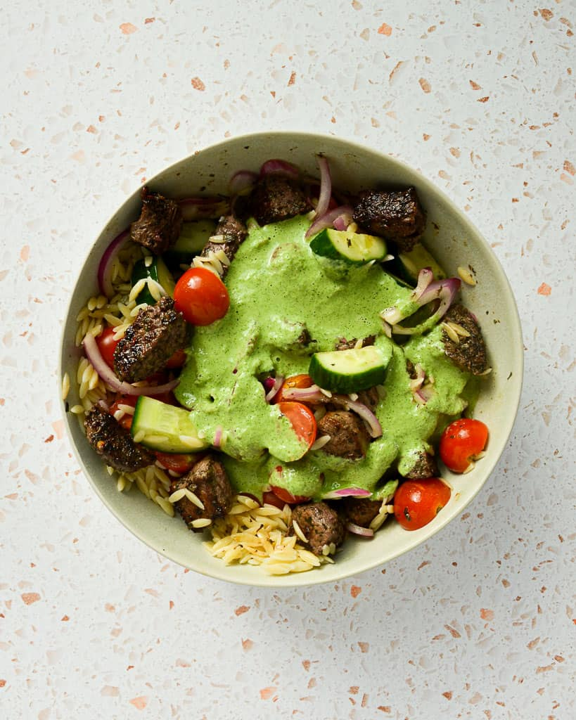 salad with protein,protein-packed salad,greek pasta salad,how to make pickled cherry tomatoes,how to quick pickle red onions,how to store a pasta salad
