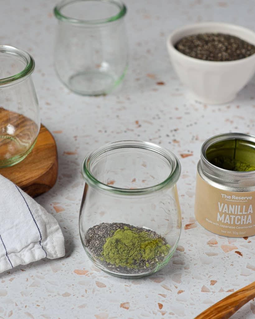 Matcha Chia Seed Pudding - adding matcha