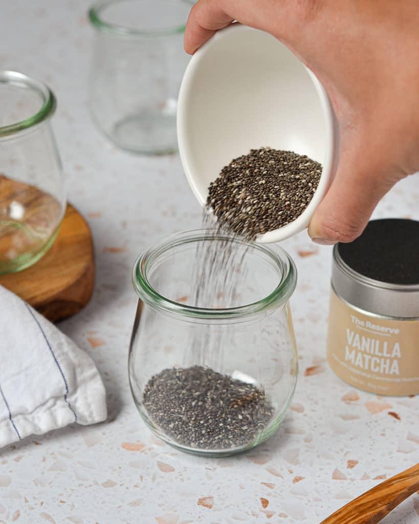 Matcha Chia Seed Pudding - adding chia