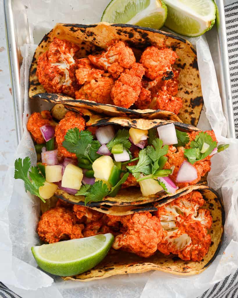 Vegan Cauliflower Tacos Al Pastor