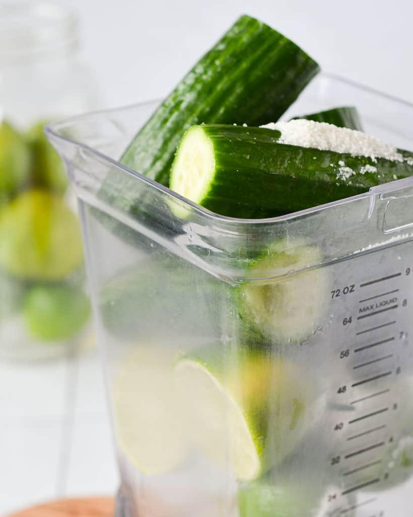 Cucumber Agua Fresca (Agua de Pepino) ingredients in the blender
