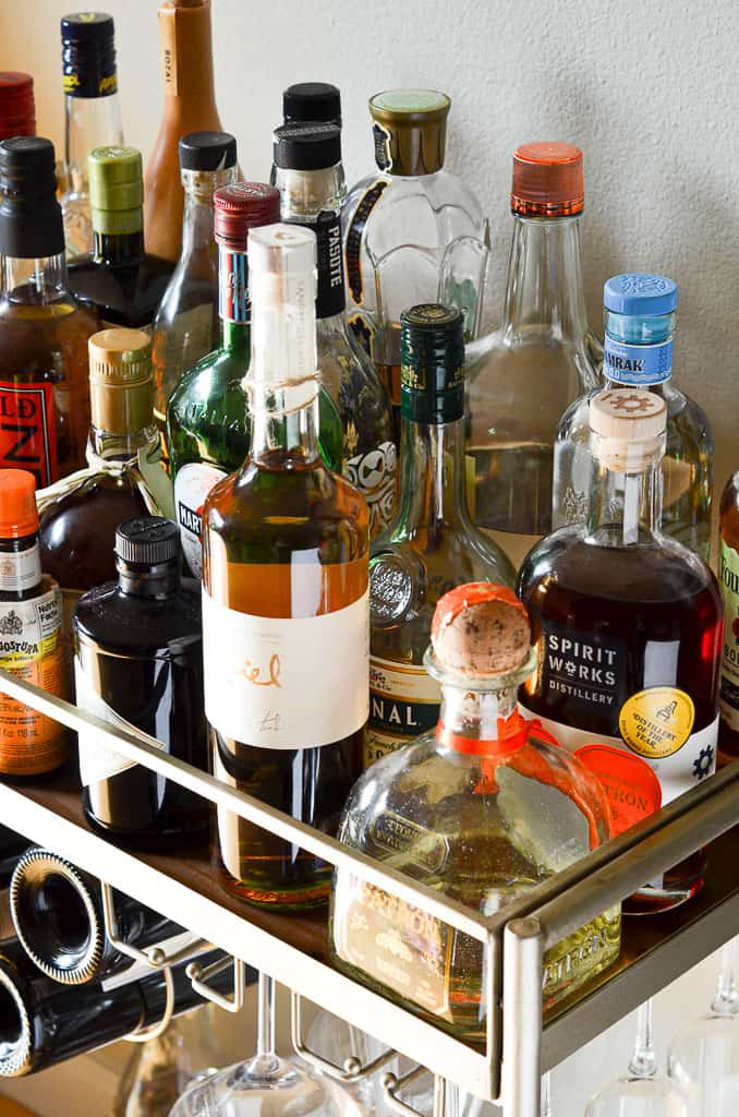 Essentials for an At-Home Bar Cart - alcohol!