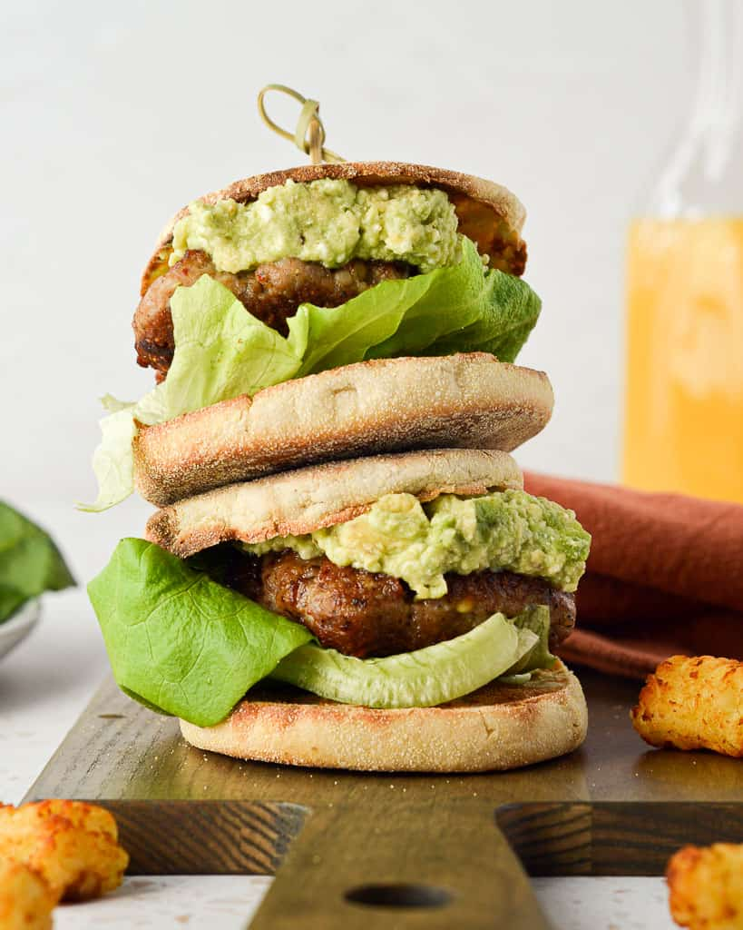 Healthier Brunch Burger - with tater tots
