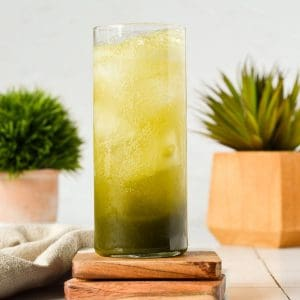 tall skinny glass with matcha gin fizz inside and two green plants in the back