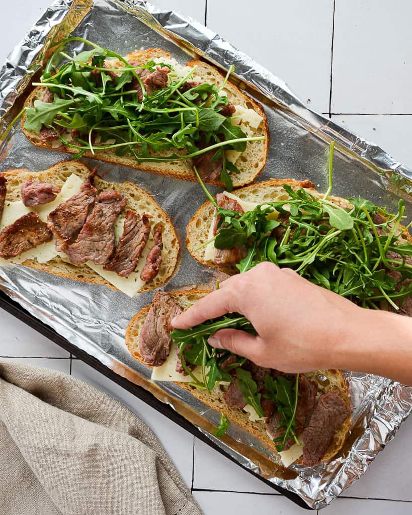 Oven Baked Steak and Arugula Sandwich - adding arugula