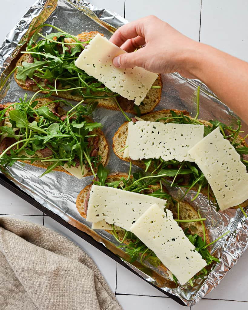 Oven Baked Steak and Arugula Sandwich - adding cheese
