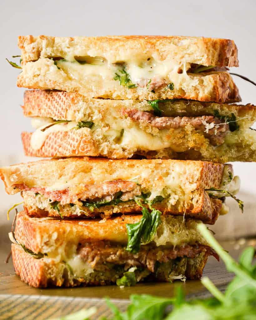Oven Baked Steak and Arugula Sandwich - stacked