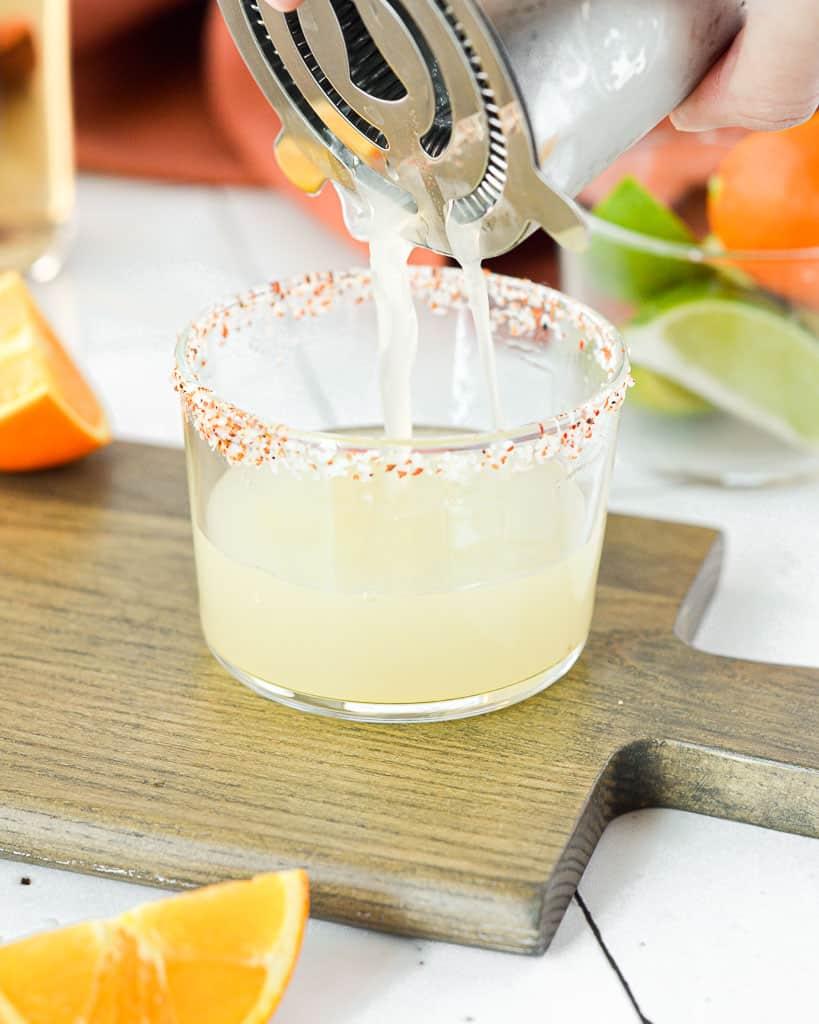 3 Ingredient Skinny Margarita - pouring into glass