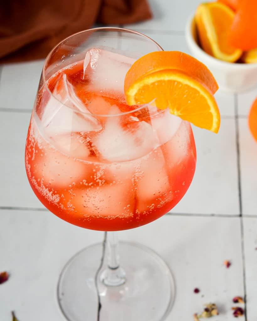 Sparkling Rosé Aperol Spritz - close up