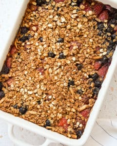 up close of Red White and Blueberry Oatmeal Bake
