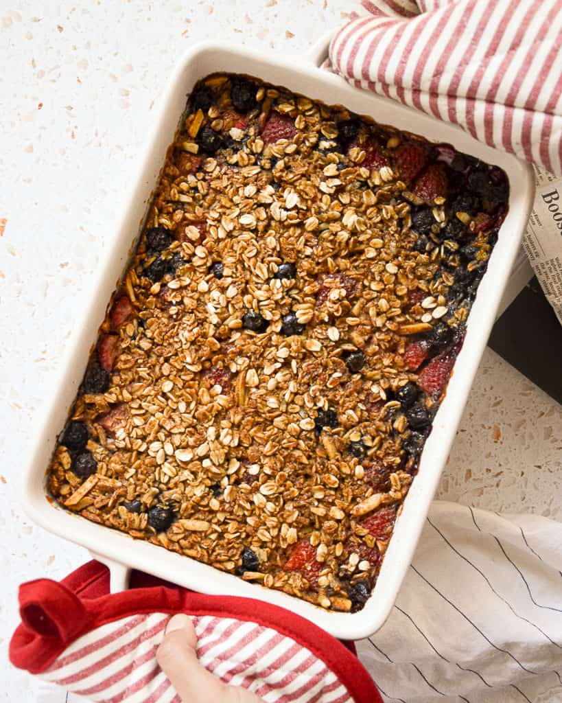 Red White and Blueberry Oatmeal Bake out of the oven