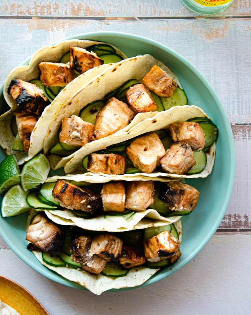 grilled swordfish tacos up close