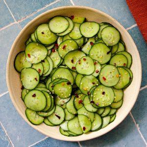 close up of an asian cucumber salad