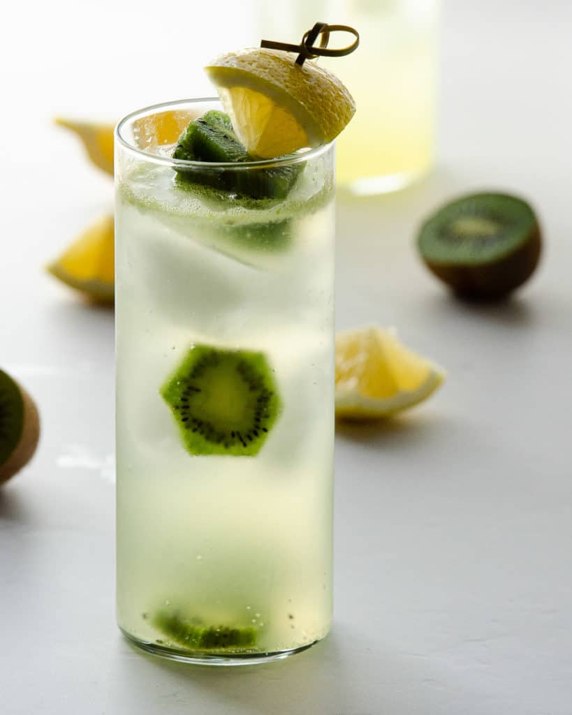 spiked lemonade vodka with kiwi pieces