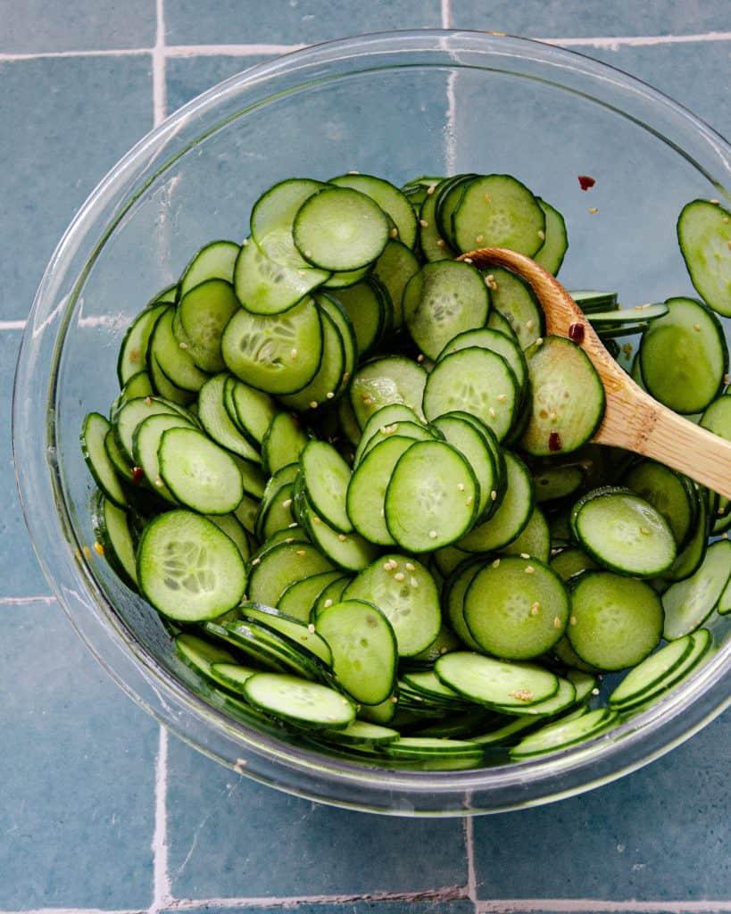 marinating cucumbers for a cucumber salad recipe