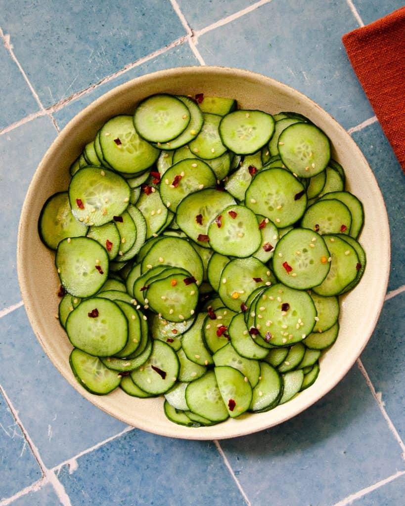 asian cucumber salad up close