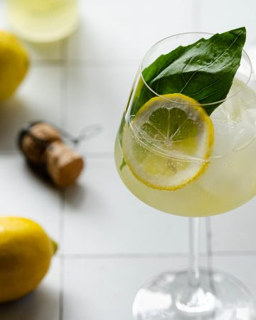 overhead close up of a basil leaf and lemon wheel with lemons and a prosecco cork
