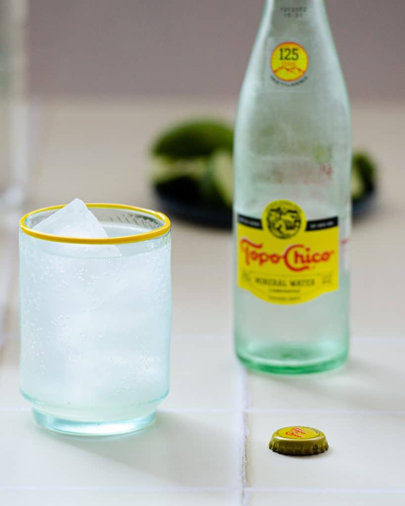 the best ranch water cocktail with Topo Chico in the back.