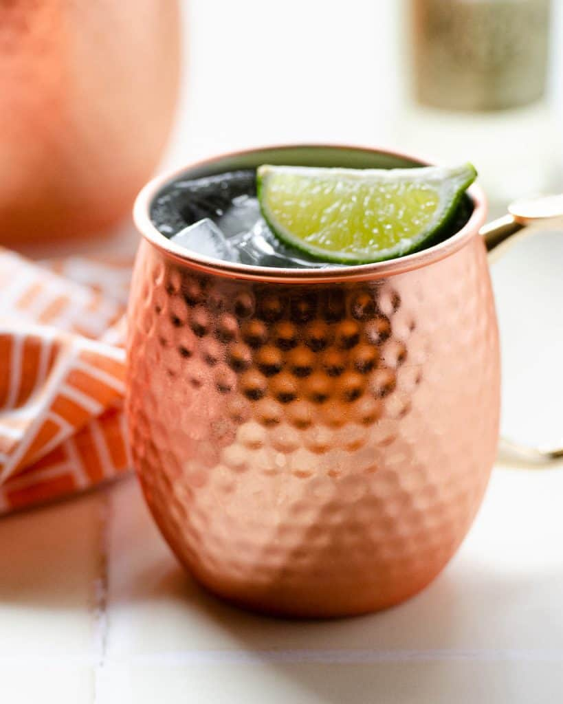 a close up shot of the texture of a copper mug used for a mexican mule