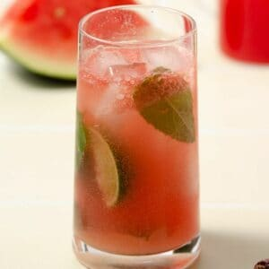 a square image of a pink watermelon gin mojito that is finished and filled with mint leaves and lime wedges