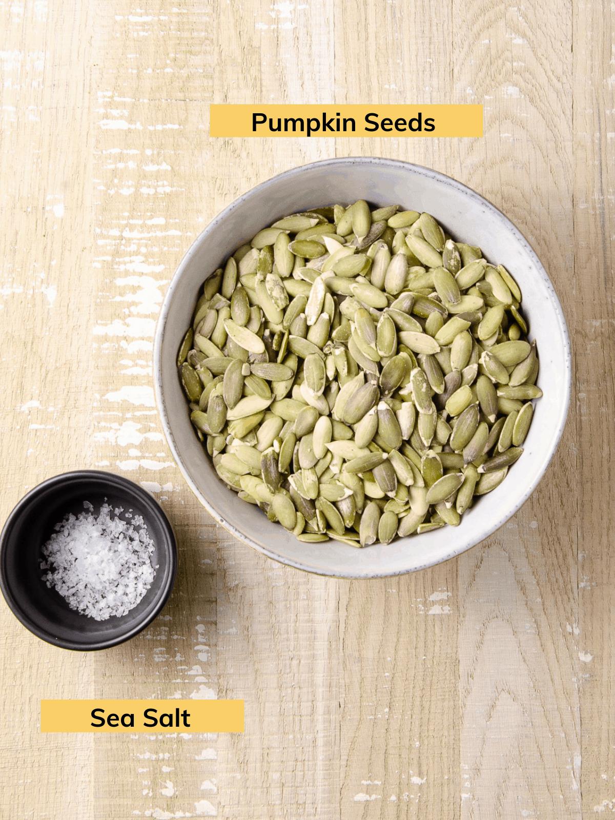Ingredients for pumpkin seed butter: pumpkin seeds and salt.