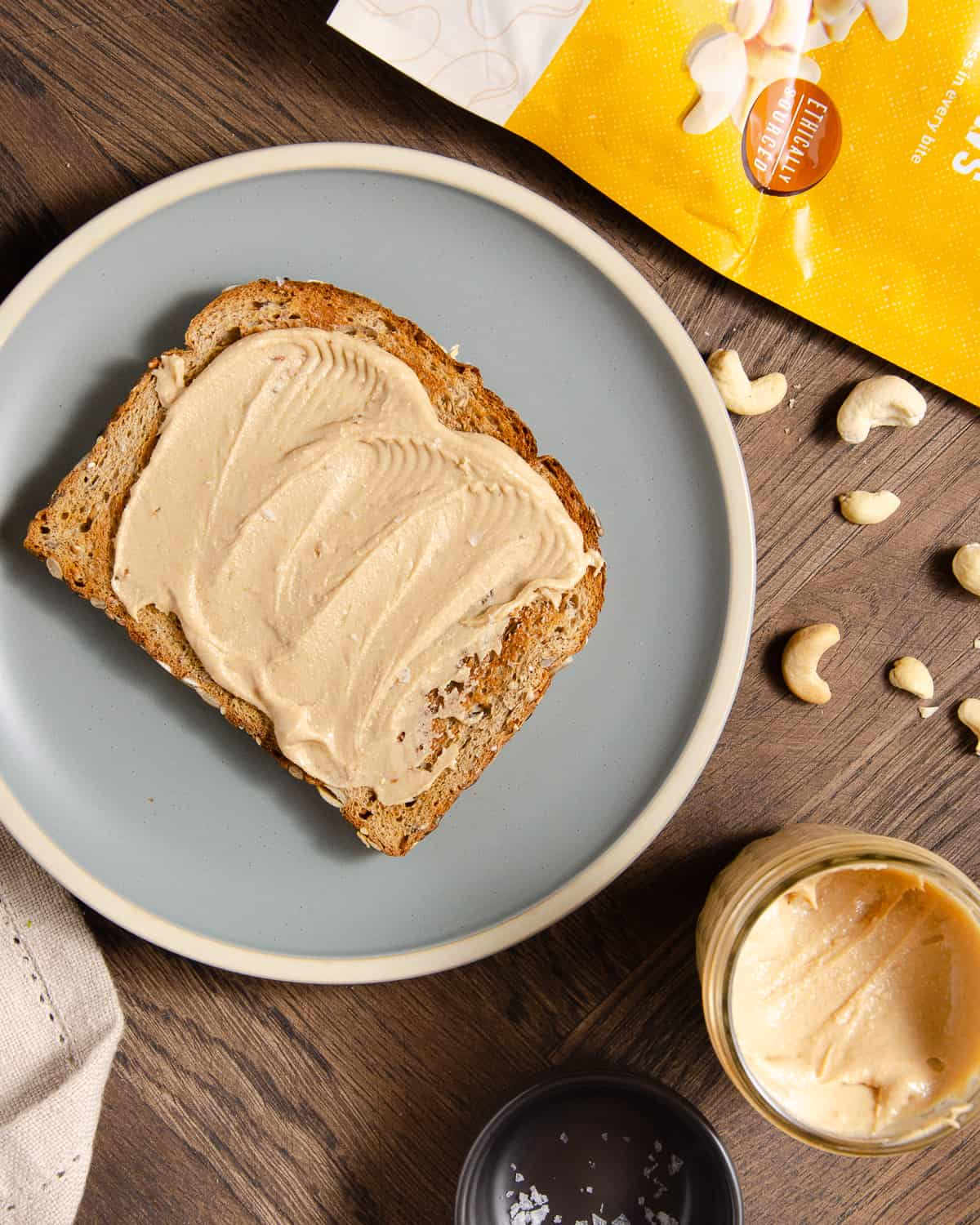 Cashew butter on a toasted slice of bread.