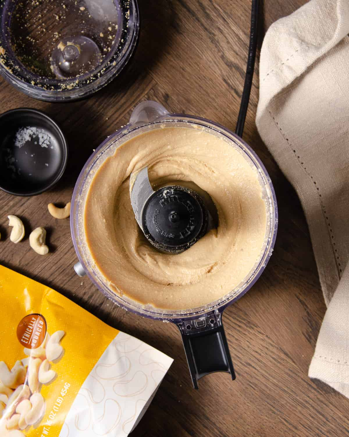 Cashew butter in the food processor after 8-10 minutes.