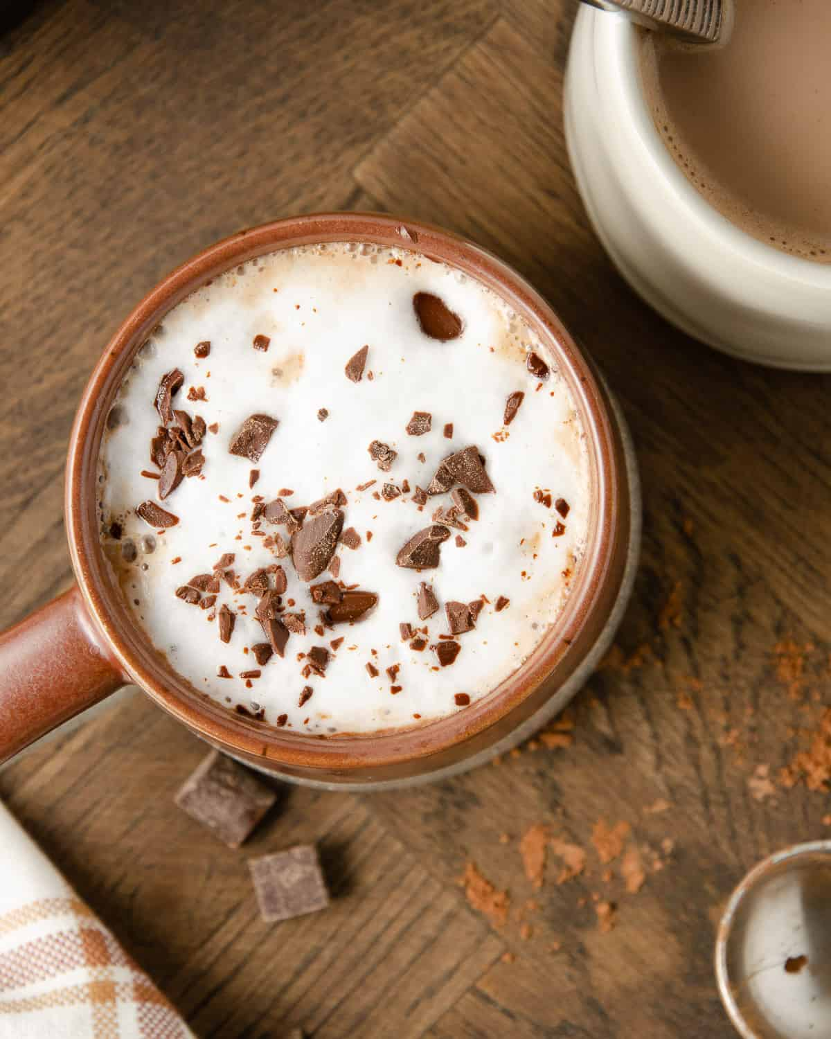 An overhead view of hot cocoa in a mug with cacao nibs on top.