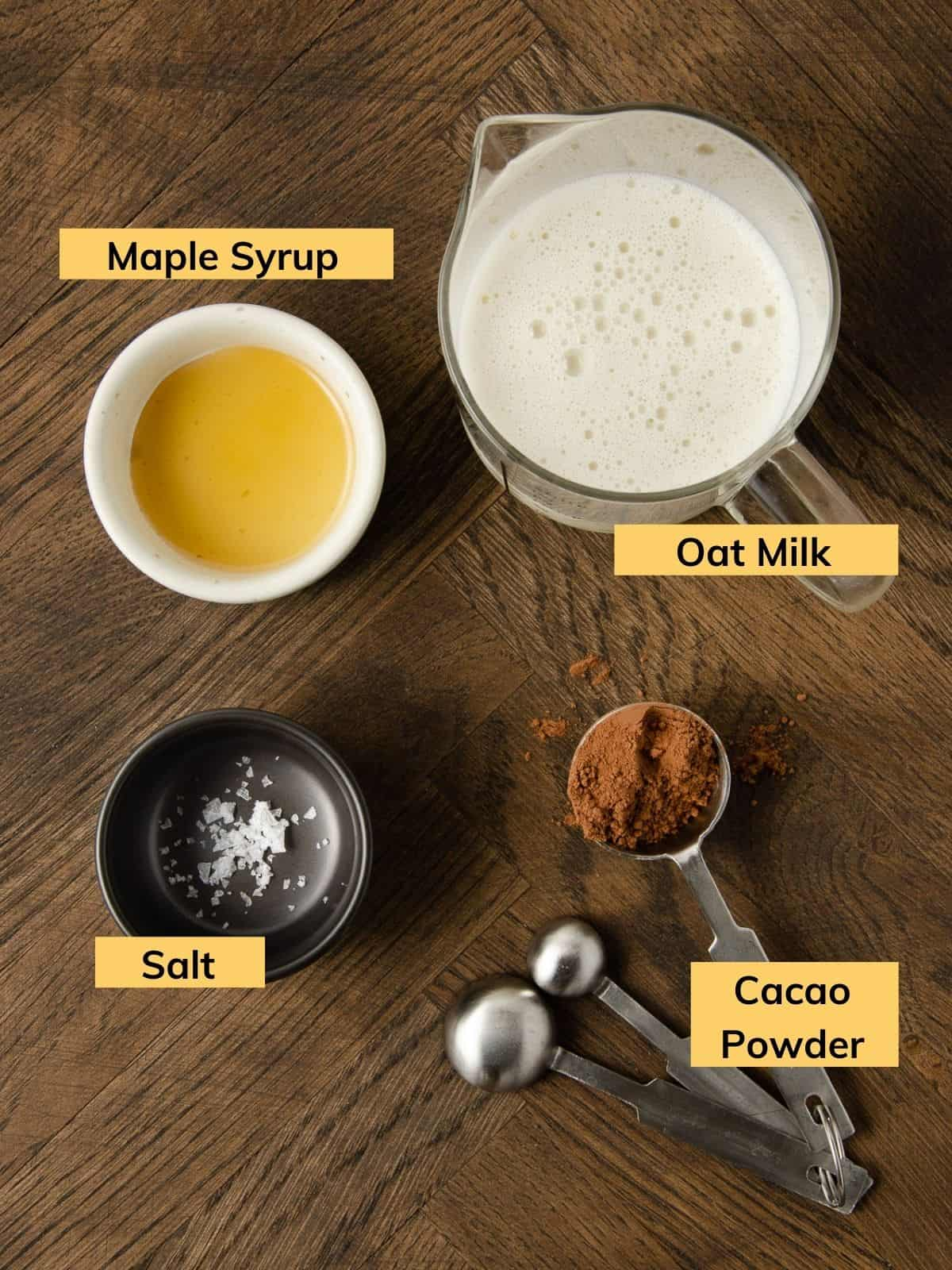 Ingredients for making an oat milk hot chocolate.