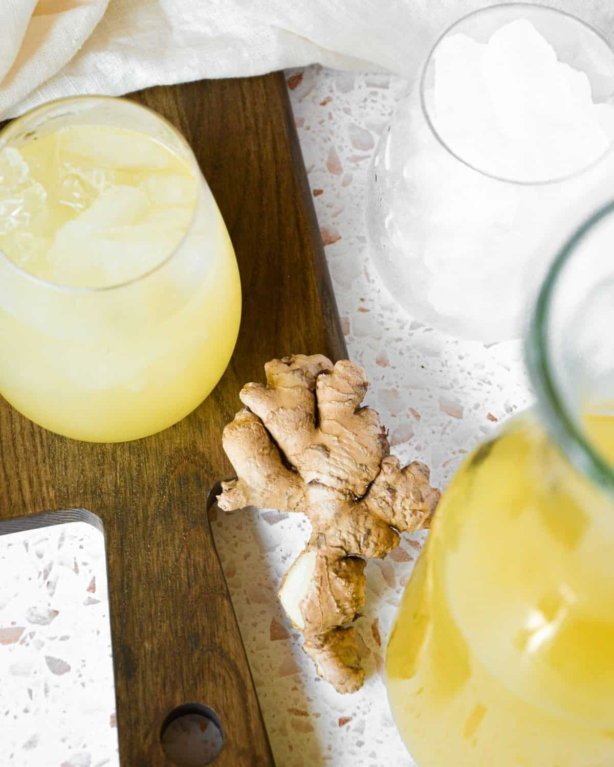 Pineapple ginger juice in a glass.