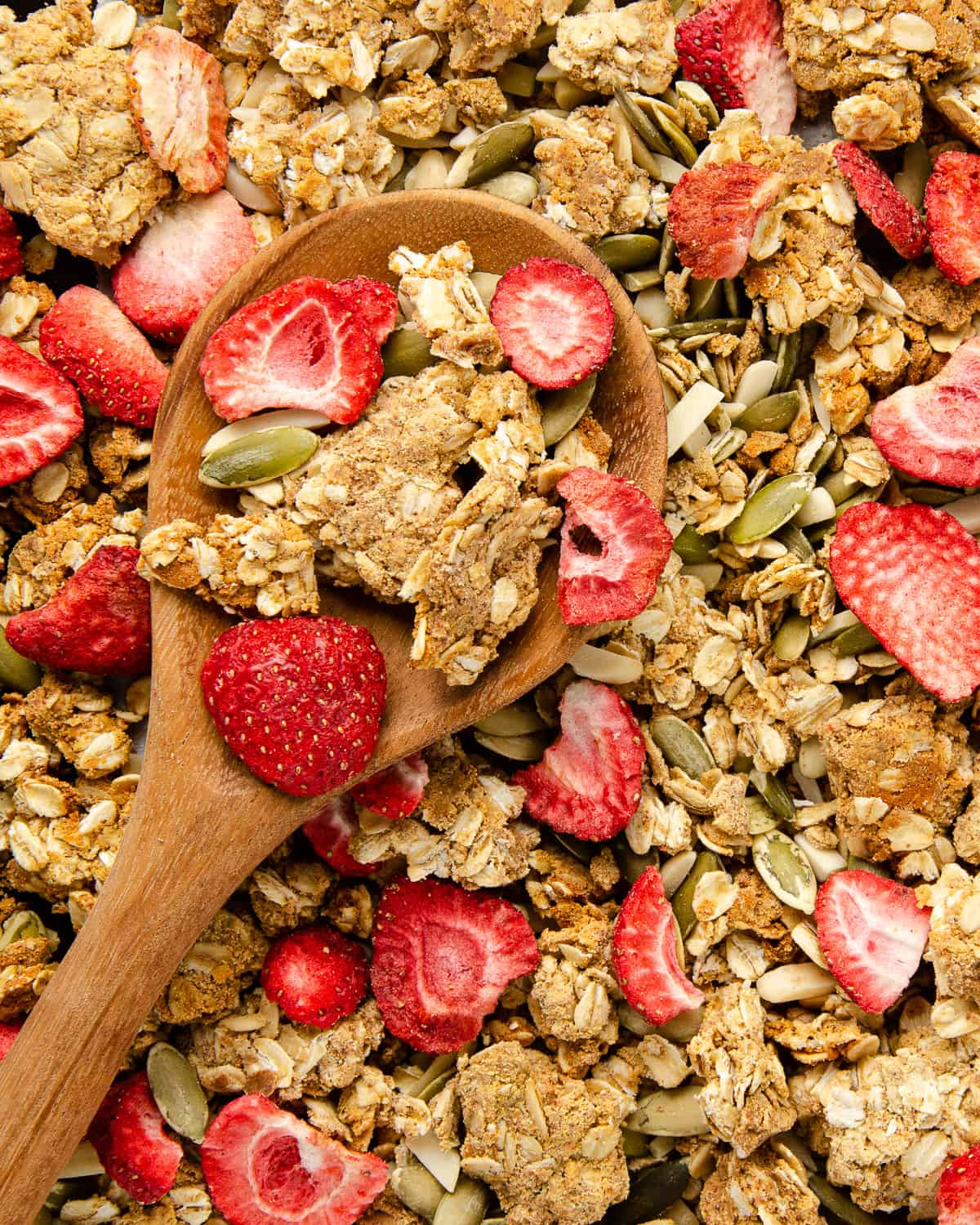 Protein granola close up shot with some granola crumbles and dried strawberries on a wooden spoon.