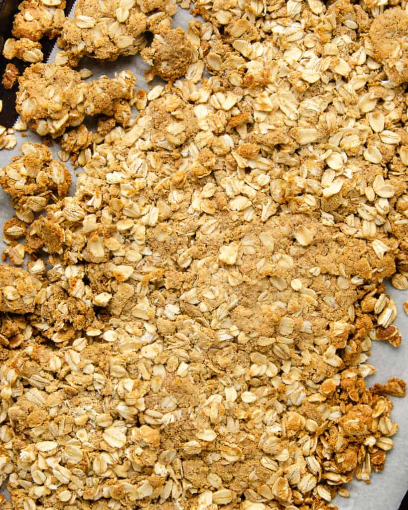 Protein granola in a large clump after baking. Next step: break up into crumbles.
