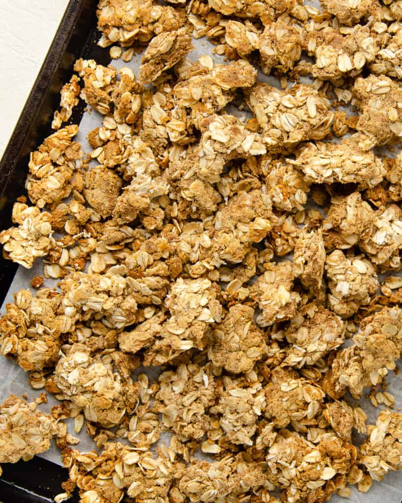 Protein granola after breaking it up into large crumbles.